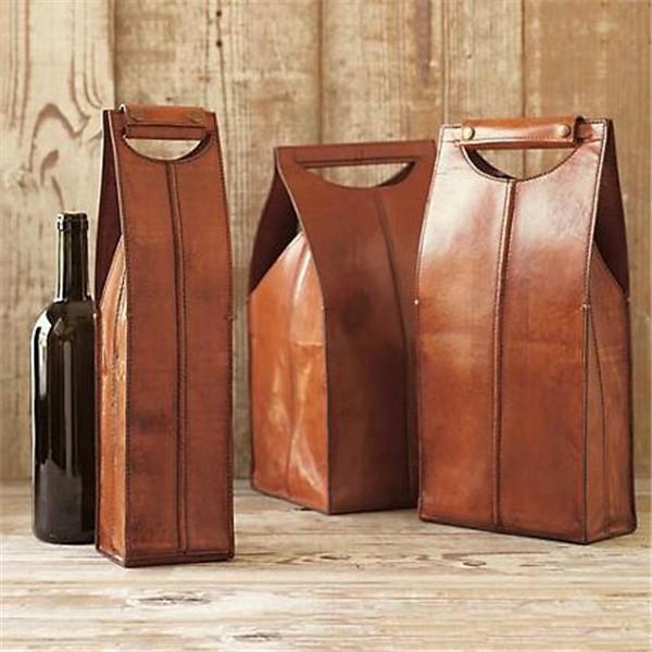 Marron en cuir souple porte-vin sac à vin en cuir avec étiquette personnalisée