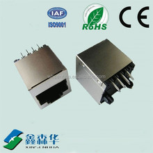 Top entry 180 degree integrated rj45 male to female connector