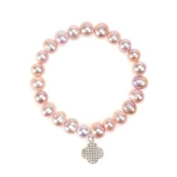 Hot sale sweet natural nude color bead bracelet with flower zircon charm