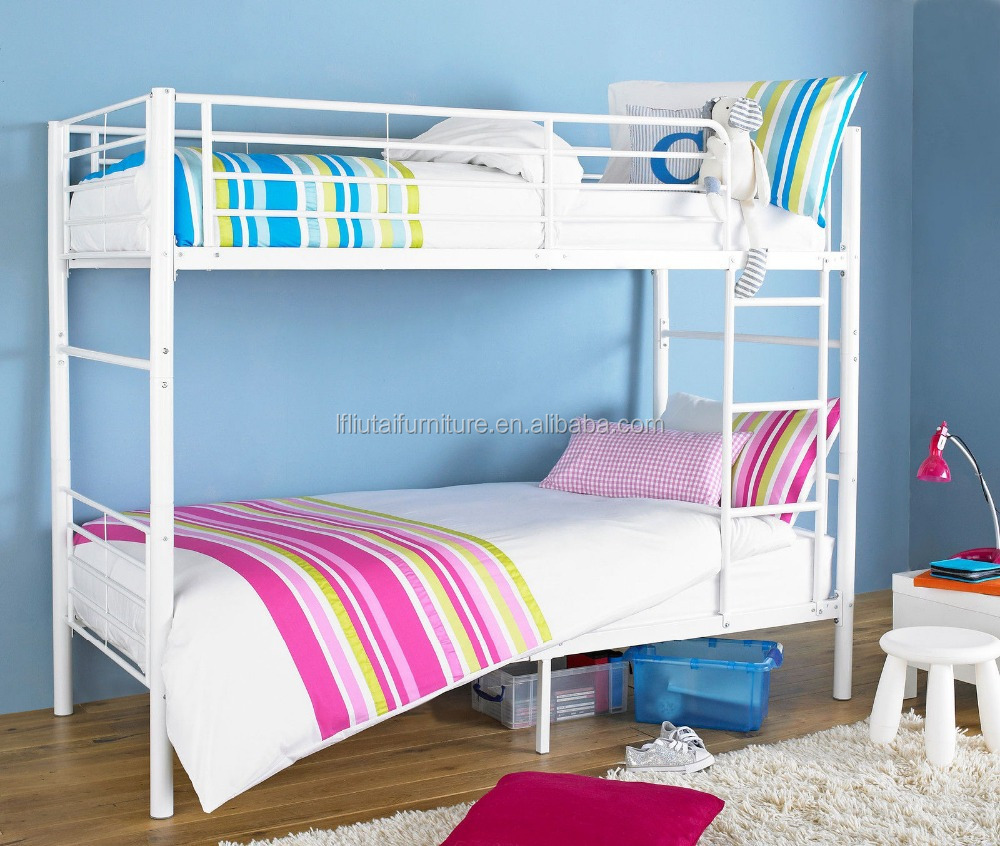 Double Decker Beds : ... double decker bed whiter/black/pink/red wooden slats metal bunk bed