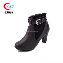 Women fashion classic black high heel ankle dress buckle boots
