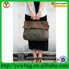 High class Army green cowhide canvas leather bag