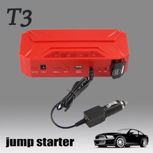 red/black 16500mah jump starter power bank smart 12v battery charger with usb, led flashlight, charger, clamp, adapter