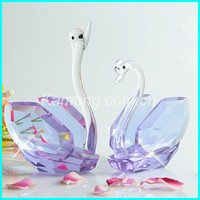 Light purple crystal swan figurine for the desk decoration