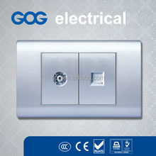 American Style Silver Color PC Material TV Satellite Socket and Data Socket outlet