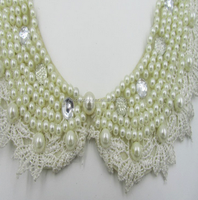 Beaded lace and border lace fabric with neck lace for cloth in china factory