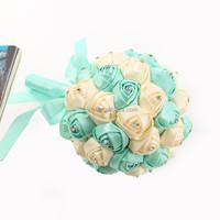 2015 bouquet holder,crystal bead bouquet,flower crystal bouquet jewelry,wholesale cheap artifical flower wedding bouquet