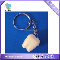custom 3D white ABS hard plastic teeth tooth shape key chain