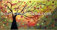 modern flowering trees oil painting,Hand-painted abstract art techniques, restaurant wall decoration hanging pictures, Shenzhen