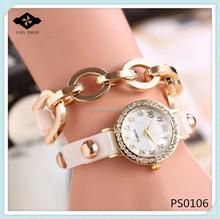 PS0106 New Arrivals Women Fashion Leather Strap Chain Studs Bracelet Women Dress Watch wrist watch wrap around