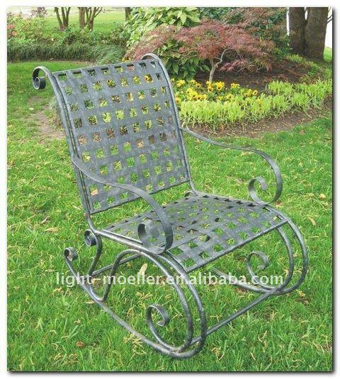Forjado mecedora de hierro silla lmrc 51000 conjuntos de for Mecedoras de jardin