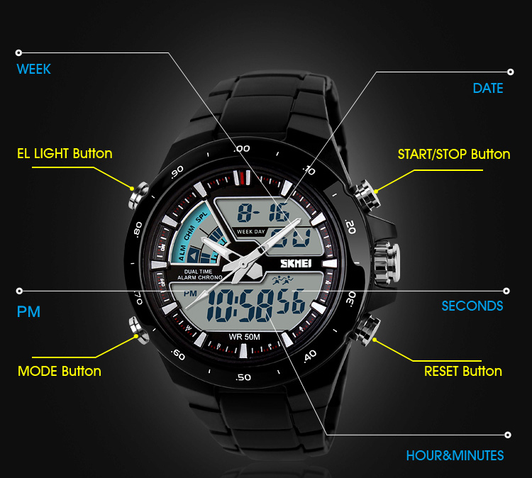 2015 Hot sale factory distributor gold color Dual time plastic analog digital watch