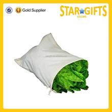 Durable 100% eco- friendly organic cotton bag drawstring cotton bag for vegetable