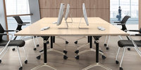 training table flip top computer desk, space saving meeting table