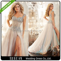 2015 New Fashion Designer Bridal Gown Patterns Cap Sleeve Prom Dress 2015 Evening Gowns With Beads