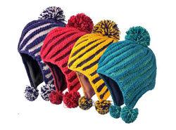 pom pom embossed knitting pattern ski earflap hat