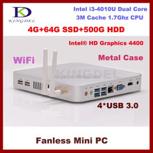 Wholesales and retail Fanless thin client i3 4010u micro pc RAM+SSD+HDD, intel HD 4400 Graphics ,DHMI,USB3.0,VGA Linux OS