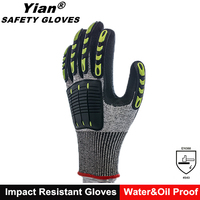 oil field work petroleum gloves with Grey color HPPE sandy nitrile dip
