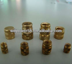 Brass knurled threaded inserts for plastic