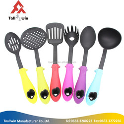 2015 hot sale silicone covered nylon with stainless handle silicone kitchen utensils / silicone cooking sets