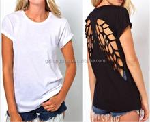 2015 OEM Fashion Hot Womens Round neck short sleeve T-shirt vest Pierced Undershirt Short Sleeve Black or White Loose shirt