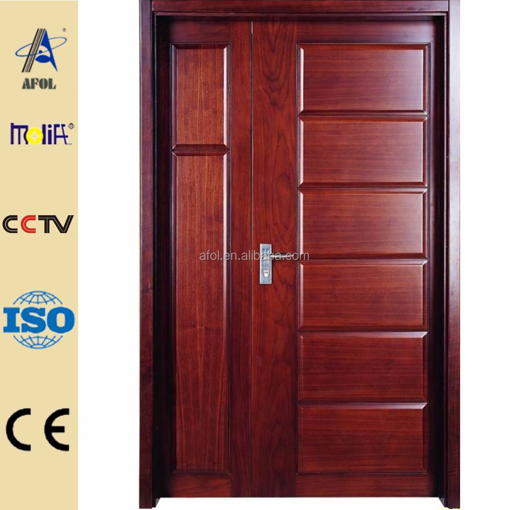 Zhejiang afol modern solid wooden doors latest wooden door for Wooden main door design catalogue