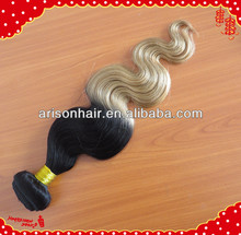 Two color virgin brazilian hair extension, ombre color human hair weft, cheap ombre hair extension