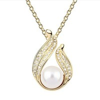 NMT5789 cheap necklace wihte pearl pendant with swarovski crystal