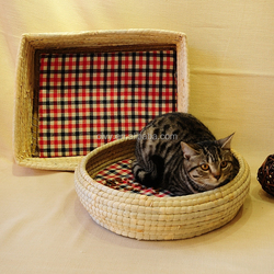 round and rectangular with two ears dog or cat Cattail House