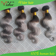Two tone color 1B/grey color hair weft body wave 100% human hair extension grade 7a hair extension