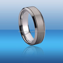 Classical Tungsten Carbide Ring and Brushed Zone Polished Edge