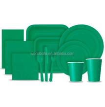 Party supplier paper tableware set little dark green