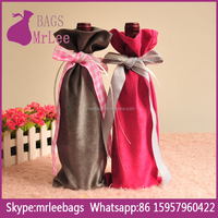 custom color and size reusable drawstring single suede wine pouch bags with satin ribbon