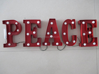 Christmas sign Metal Industrial Marquee Light letter sign,PEACE