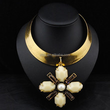 Wide Alloy Chain Big Resin Crystal Flower Pendant Fashion Necklace Jewelry