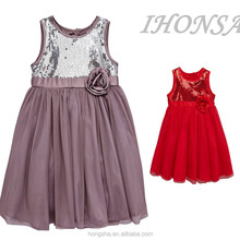 Fashion Sequin Child Dress Sleeveless Princess Frock Design Dress For Party HSD6714