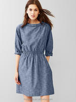 On Alibaba.com OEM Women Cotton Girls Relaxed Dress Weavy Chambray Dress HSD8527