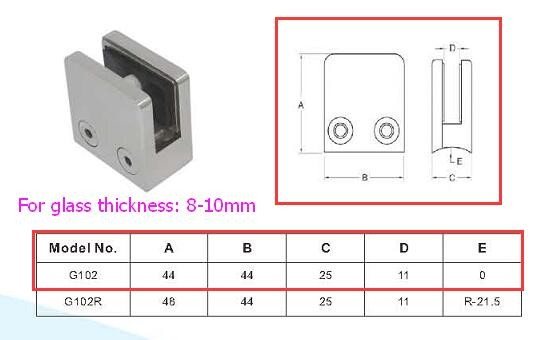 stainless steel glass balcony glass railing hardware u shaped clamp