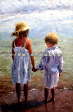 M-225 Handmade Home Decorative Oil Painting Girl And Boy Picture