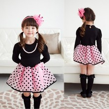 New Fashion Cute Polka Dot & Grid Pattern baby girl party Dress SV013460