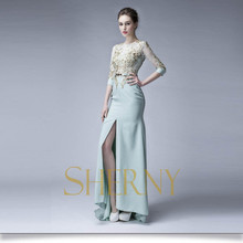 Professional Design long evening dresses with sleeves embroidered patterns