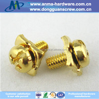PM/QW6#-32*7.9 slotted cross recessed pan head sems screw with square washer