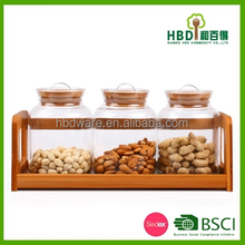 Airtight Glass Canister /mason jar set with rotatable bamboo rack