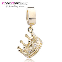Bulk Wholesale Fashion Jewelry Crown 925 Sterling Silver Charm with CZ Gold Plated Floating Charms fits DIY Bracelets