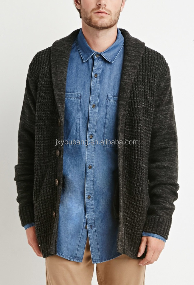 Ribbed Knit Shawl Cardigan Mens Sweaters &knits New Arrival - Buy Sw...