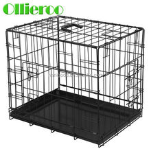 Foldable different size Black Color double door Dog Kennel with ABS Tray