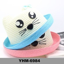Promotional Summer beach paper straw children hat with cat's embroided pattern for sunproof