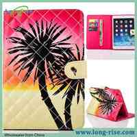 Newest Stitching Grid Painting Coconut Tree Pattern Wallet Flip Tablet Cover for iPad Air Leather Case