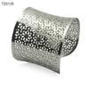 OEM Jewelry Hollow Flower Pattern Stainless Steel Wide Bangles Bracelet Silver Gold