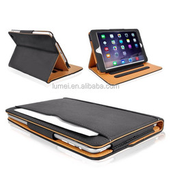 Black & Tan Multi Function Leather Standby Case for Apple New iPad Air 2 With Built-in Magnet For Sleep & Awake Feature